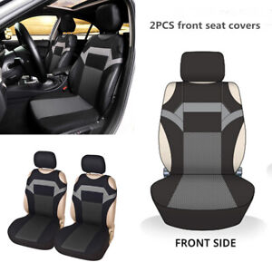 2Pcs Gray T-shirt Design Front Car Seat Cover Protector For Interior Accessories