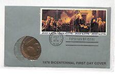 DD43 1976 USA Phila Bicentennial FDC & Commemorative Coin {samwells-covers}PTS