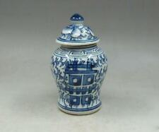 Chinese old Handmade painting hi word blue and white porcelain Tea caddy pot