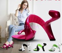 New Womens Peep Toe Show Club High Heels Shoes Weddding Cut Out Sandals Casual Y