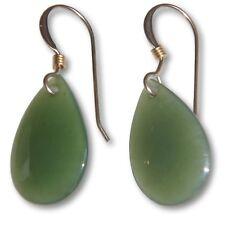 Genuine Nephrite Jade Earrings 14 K White & Yellow Gold 8.3 carat 16x11mm Drop