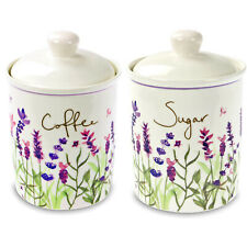 Set Of 2 Ceramic Sugar Coffee Canisters Container Kitchen Storage Floral Print