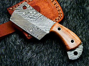 CUSTOM MADE DAMASCUS STEEL FULL TANG MINI CHOPPER KNIFE - OLIVE WOOD - WD-3459