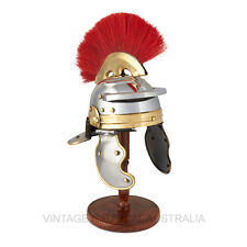Vintage Nautical Mini Medieval Roman Helmet Antique Centurion  Stand, Red Plume
