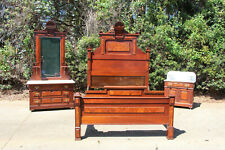 Walnut Victorian 3pc Marble Top Bed Bedroom Set Sunflower Crowns ~ Ca.1880