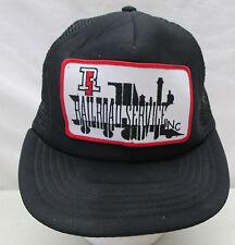 Vintage R S Railroad Service Inc. Embroidered Mesh Snapback Trucker Hat Black