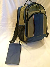 Lands End Large Backpack Blue and Tan With Matching Pencil Bag