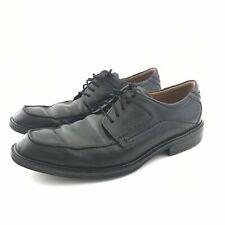 Ecco Men Black 43 Lace Up Apron Oxford Leather Comfort Black Dress US 9 9.5 Wide