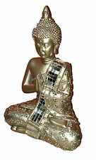 Meditating Thai Buddha Gold Statue Sculpture Ornament Figurine 22 cm