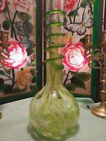 Vase, Poland Czech Art Glass Long Neck Green Bud Vase W/Dark Green Coil Wrap