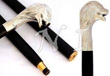 Vintage Handmade Wooden Walking Stick Brass Chrome Finish Nautical Style Gift
