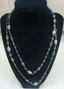 """SORRELLI CRYSTAL 20""""-21"""" BRONZE NECKLACE CLEAR GREEN PINK PEACH GORGEOUS!!"""