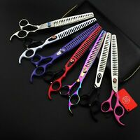 "8.0"" Professional Pet Grooming Shear Dog Hair Thinning Chunker Scissors Clippers"