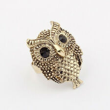 Women Punk Style Vintage Cute Crystal Black Eye Owl Adjustable Ring Jewelry