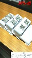 Solid Man 10K White Gold Micro-Pave Earrings Genuine Diamond (TCW) 0.15 - 0.33