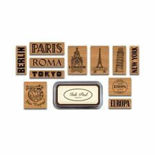 Cavallini - Tin of 11 Rubber Stamps - Destinations - Black Ink Stamp Pad Inc