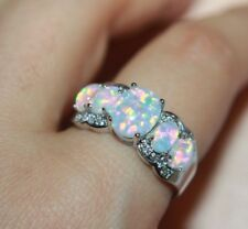 fire opal topaz Cz ring gems silver gold jewelry 6 9 cocktail engagement wedding