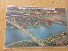 Vintage Post Card Airplane View of the Triboro and Hell Gate Bridges New York
