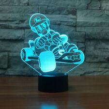 3D Mario Kart Luigi Nintendo Acrylic LED  Night Light Touch Table Desk Lamp Gift
