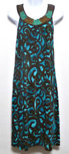 Choices Ladies Teal and Brown Beaded Polyester Dress - Size L (12-14)