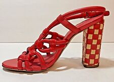 TORY BURCH Layce RARE Red Checkerboard Sandals Heels Shoes Size 5.5 M (EU 36)