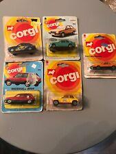 5 X VERY RARE VINTAGE CORGI 1970s/80s CARS: ESCORT VAUXHALL NOVA RENAULT MUSTA