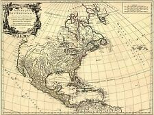 TRAVEL MAP NORTH AMERICA CANADA HISTORICAL ART POSTER PRINT LV4059