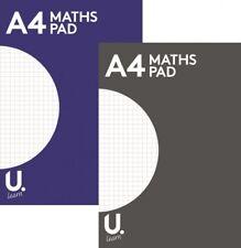 A4 MATHS PAD SQUARED Premium QUALITY Notepad 100 Page Grid School Homework