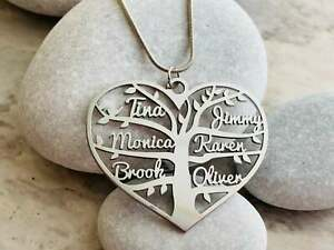 Personalized Heart Necklace Tree of Life Custom Family Names Mother's Day Gift