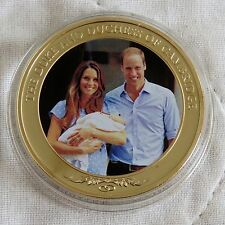 WILLIAM & CATHERINE 2013 COOK ISLAND PHOTO 24ct GOLD PLATED PROOFLIKE $1 b