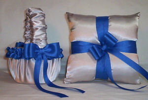 SILVER SATIN / HORIZON BLUE TRIM FLOWER GIRL BASKET & RING BEARER PILLOW
