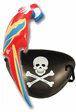 Pirate Eye Patch & Inflatable Parrot Parot Fancy Dress Boys & Adult Costume
