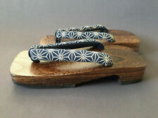 "Japanese Men's Wooden Geta Sandals 11.25"" Samurai Yukata Kimono Shoes Asanoha"