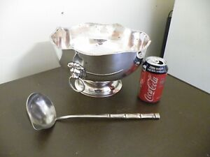 Large Vintage Lion Head Handled Silver Plated Punch Bowl With Ladle