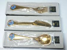 Georg Jensen Silver Enamel Cutlery Set Knife Fork Spoon Flowers c1983