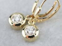Diamond Bezel Set Drop Dangle Earrings Women 14K Yellow Gold GP Anniversary Gift