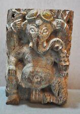 Original Old Antique Big Wooden Fine Hand Carved God Ganesha Idol Figurine