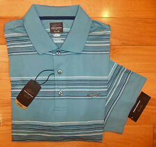NWT GREG NORMAN Tasso Elba Performance Mens Golf Shirt-L Ret@$55 BLUE STRIPE