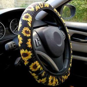 Sunflower Steering Wheel Cover Non Slip Neoprene Fabric Steeri  For Women Trendy