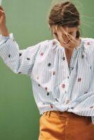 ANTHROPOLOGIE Akemi Kin Adela Blouse Top M Medium Floral Embroidered Striped Shi
