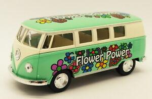 1962 VW Camper Flower Power Green - Kinsmart Pull Back & Go Metal Model Car