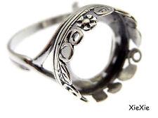 925 Sterling Silber Ring Rohling 14mm Fassung antik silberfarben (9096AN)