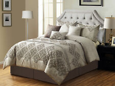 7 Cullen Floral Damask Embroidery Pleated Comforter Set Antique Beige Gray Queen