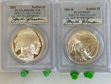 2001-P PCGS PR69DCAM & 2001-D MS69  SIGNED Silver Buffalo $1 Dollars