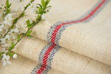 Grain Sack Fabric Red Blue stripes Antique Grain sack fabric hand made