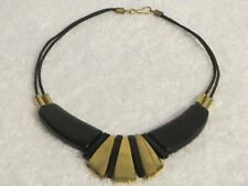 Black Cord Leather Tribal Necklace with Gold & Black Flare Beads  17 inch