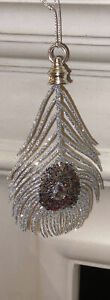 Silver Glitter Feather Hanging Christmas Tree Decorations 17cm Bling Glamorous