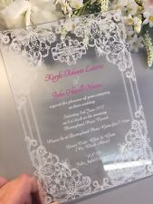 Vintage Lace Acrylic Printed Wedding Invitations Invites Pack of 10