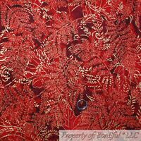 BonEful Fabric FQ Cotton Quilt Maroon Red Orange Yellow Gold Fall Leaf Blender S