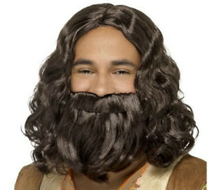 Adult Jesus Wig and Beard Set Dark Brown Curly Hair Biblical Costume Mens NEW